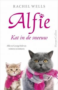 Alfie, kat in de sneeuw